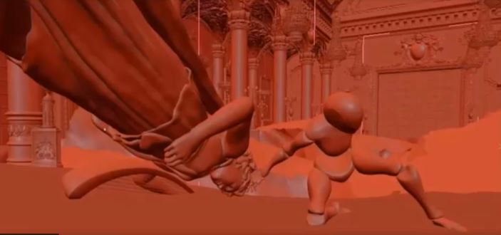 statue fall slide clay visual effects